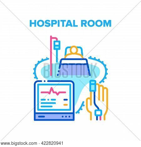 Hospital Room For Patient Vector Icon Concept. Hospital Room For Examination And Treatment Health, S