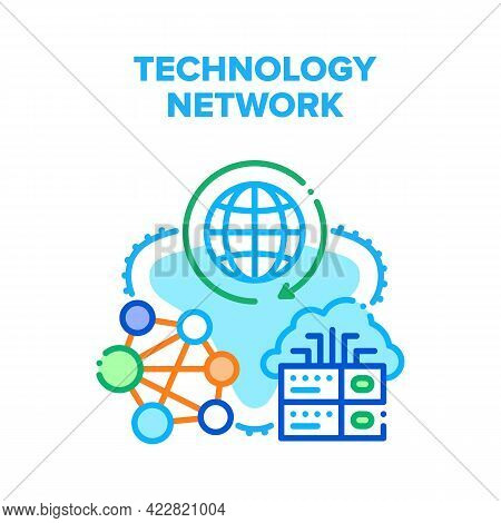 Global Technology Network Vector Icon Concept. Server Technology Network, Electronic Equipment For C