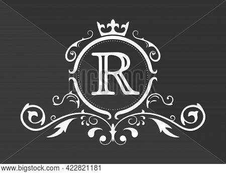 Stylized Letter R Of The Latin Alphabet. Monogram Template With Ornament And Crown For Design Of Ial