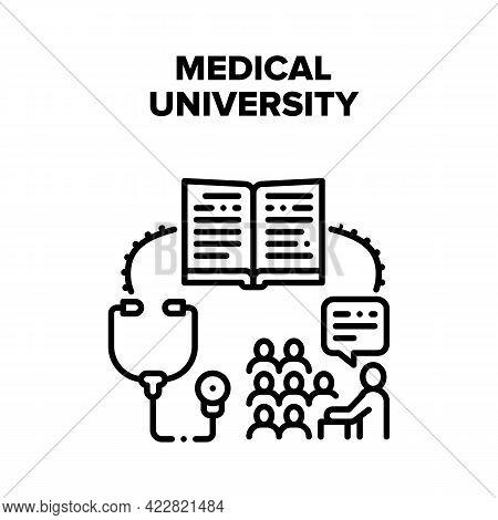 Medical University Education Vector Icon Concept. Students Studying Medical University, Reading Medi