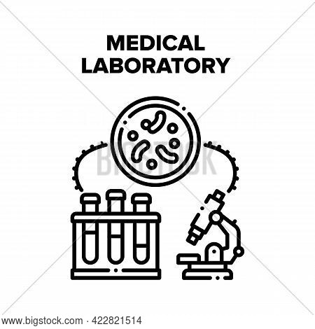 Medical Laboratory Research Vector Icon Concept. Medical Laboratory Equipment And Flask With Liquid