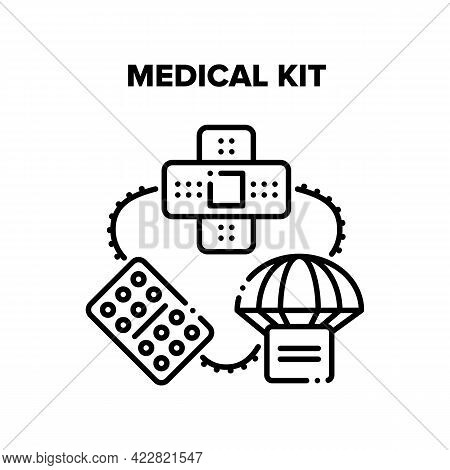 Medical Kit Box Delivery Vector Icon Concept. Medical Kit With Drugs Package And Patch For First Aid