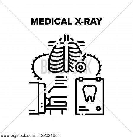 Medical X-ray Clinic Tool Vector Icon Concept. Medical X-ray Hospital Electronic Equipment In Radiol