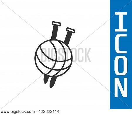 Grey Yarn Ball With Knitting Needles Icon Isolated On White Background. Label For Hand Made, Knittin