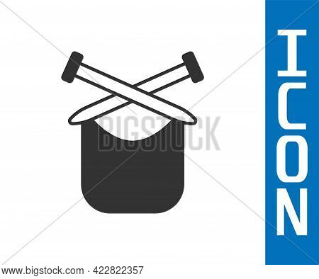 Grey Knitting Icon Isolated On White Background. Wool Emblem With Knitted Fabric And Needle. Label F