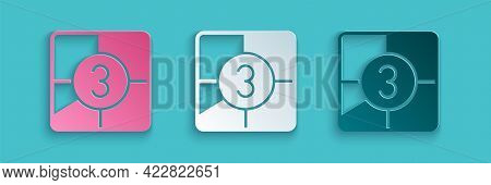 Paper Cut Old Film Movie Countdown Frame Icon Isolated On Blue Background. Vintage Retro Cinema Time