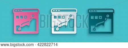 Paper Cut Histogram Graph Photography Icon Isolated On Blue Background. Paper Art Style. Vector