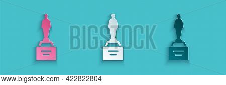 Paper Cut Movie Trophy Icon Isolated On Blue Background. Academy Award Icon. Films And Cinema Symbol