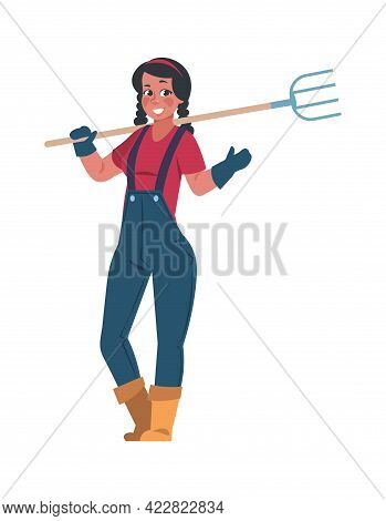 Agricultural Worker. Cartoon Woman With Pitchfork. Female Character Holding Hayfork. Smiling Farmer