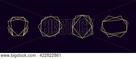 Golden Geometric Polyhedron Frames. Gold Art Deco Abstract Borders. Isolated Luxury Templates Set. D