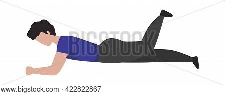 Man Doing Sport Exercise. Cartoon Sportsman Training In Gym. Athletic Male Character Lying And Wavin
