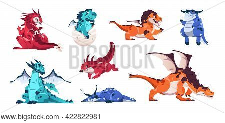 Baby Dragon. Cartoon Fairytale Animals. Fictional Dinosaurs In Various Poses. Mythological Flying Re