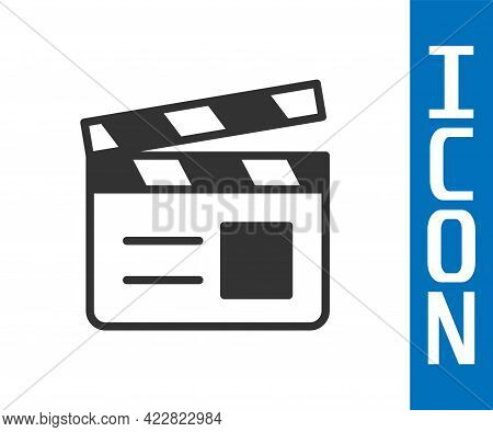 Grey Movie Clapper Icon Isolated On White Background. Film Clapper Board. Clapperboard Sign. Cinema