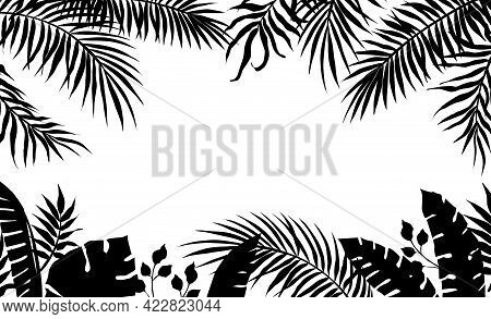 Palm Leaves Frame. Black Silhouette Of Banana Tree Foliage. Exotic Plant Border. Rainforest Greenery