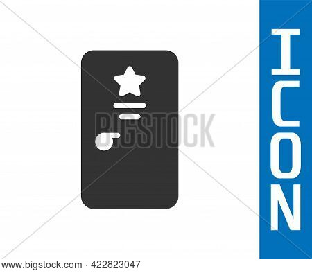 Grey Backstage Icon Isolated On White Background. Door With A Star Sign. Dressing Up For Celebrities