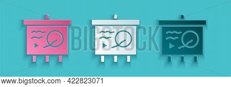 Paper Cut Scenario On Chalkboard Icon Isolated On Blue Background. Script Reading Concept For Art Pr