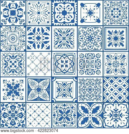Portugal Tile. Spanish Square Floor And Wall Covers. Blue And White Ornamental Arabesque Pattern. Ge