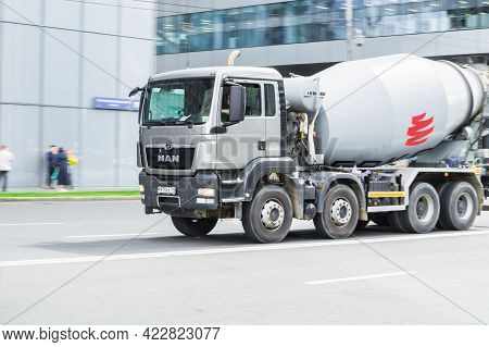 Moscow , Russia - June 2021: Large Concrete Mixing Transport Truck In The Center Of Moscow. Cement T