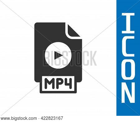 Grey Mp4 File Document. Download Mp4 Button Icon Isolated On White Background. Mp4 File Symbol. Vect