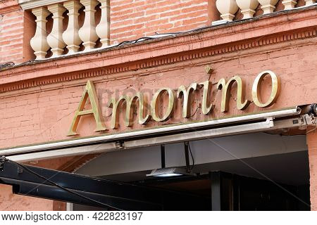 Bordeaux , Aquitaine France - 06 01 2021 : Amorino Logo Brand Shop And Round Sign Text Of Italian Ca