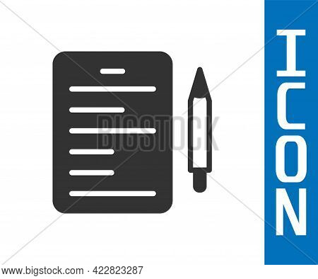 Grey Scenario Icon Isolated On White Background. Script Reading Concept For Art Project, Films, Thea