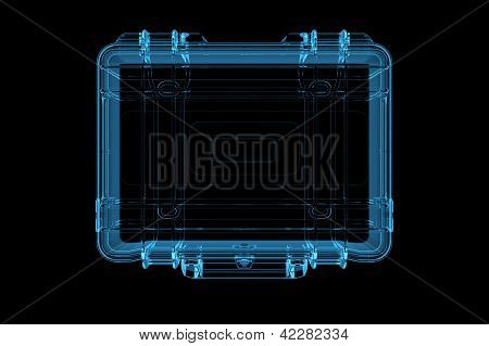 Suitcase 3D rendered xray blue transparent isolated on black