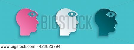 Paper Cut Man With Third Eye Icon Isolated On Blue Background. The Concept Of Meditation, Vision Of