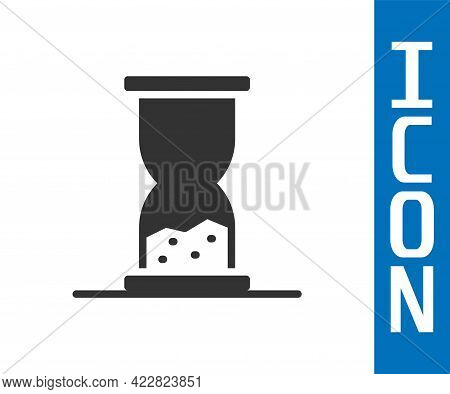Grey Old Hourglass With Flowing Sand Icon Isolated On White Background. Sand Clock Sign. Business An