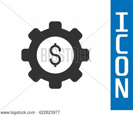 Grey Gear With Dollar Symbol Icon Isolated On White Background. Business And Finance Conceptual Icon