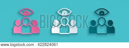 Paper Cut Spy, Agent Icon Isolated On Blue Background. Spying On People. Paper Art Style. Vector