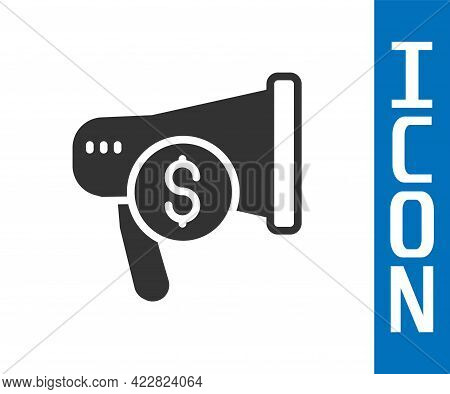 Grey Megaphone And Dollar Icon Isolated On White Background. Loud Speech Alert Concept. Bullhorn For