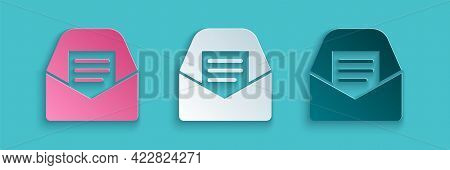 Paper Cut Mail And E-mail Icon Isolated On Blue Background. Envelope Symbol E-mail. Email Message Si