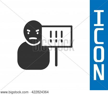 Grey Protest Icon Isolated On White Background. Meeting, Protester, Picket, Speech, Banner, Protest