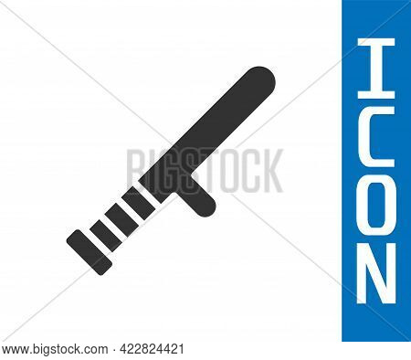 Grey Police Rubber Baton Icon Isolated On White Background. Rubber Truncheon. Police Bat. Police Equ