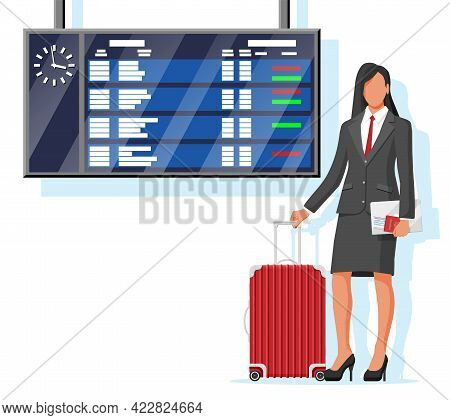 Woman With Travel Bag. Tourist With Suitcase, Passport, Ticket, Boarding Pass In Airport. Businesswo