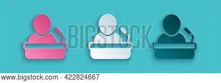 Paper Cut Speaker Icon Isolated On Blue Background. Orator Speaking From Tribune. Public Speech. Per