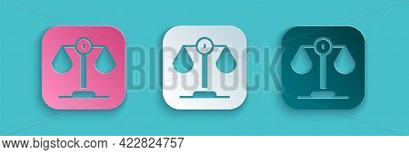 Paper Cut Scales Of Justice Icon Isolated On Blue Background. Court Of Law Symbol. Balance Scale Sig