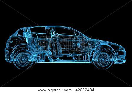 Car 3D rendered xray blue transparent isolated on black