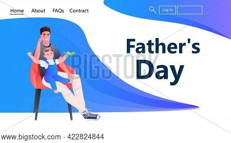 Young Father Spending Time With Little Child At Home Fatherhood Parenting Concept Full Length Horizo
