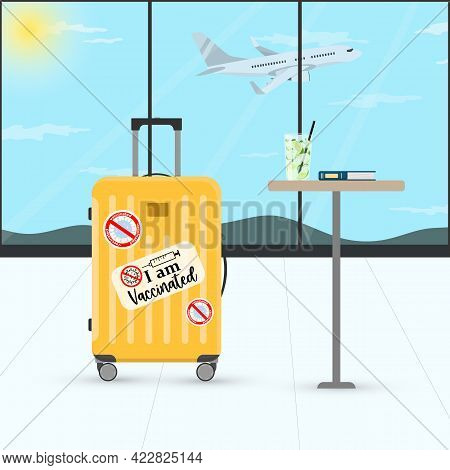 Vector Illustration Of Suitcase Or Luggage With Covid-19 Vaccinated Signs In Airport Terminal Waitin