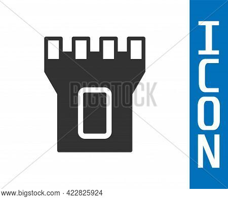 Grey Castle Tower Icon Isolated On White Background. Fortress Sign. Vector
