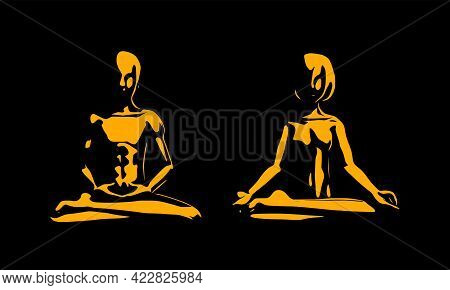 Abstract Vector Illustration Of A Man And Woman Practicing Yoga. The Modern Art Of People Doing Yoga