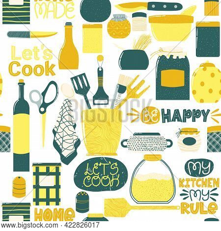 Seamless Pattern With Cooking Utensils In Cartoon Flat Design. Repeated Hand Drawn Background With K