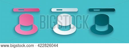 Paper Cut Magic Hat And Wand Icon Isolated On Blue Background. Magic Trick. Mystery Entertainment Co