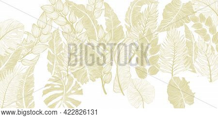Horizontal Background With Various Exotics Golden Leaves. Hand Drawn Luxury Golden Tropical Leaf On