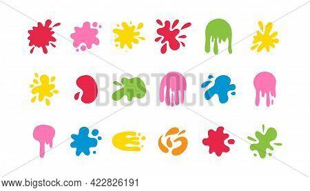 Abstract Color Blob Set. Organic Forms, Falling Liquid Paint Shape, Colorful Simple Decorative Blotc