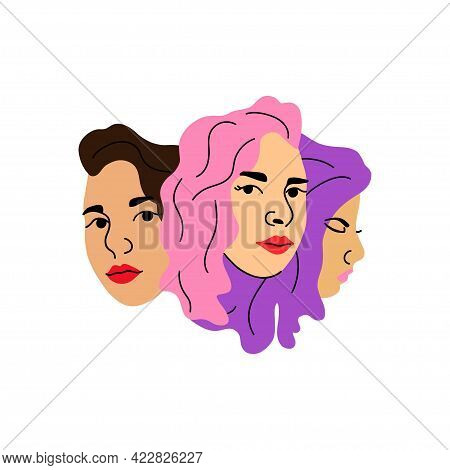 Woman Face. Female Heads Together, Various Hair Colors Pink Purple And Brunette, Social Media User A