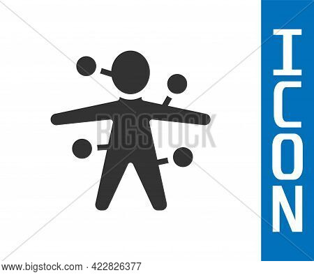 Grey Voodoo Doll Icon Isolated On White Background. Vector