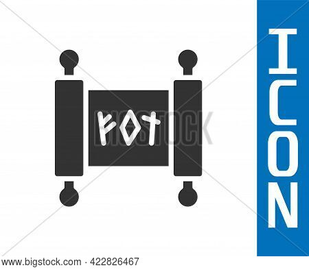 Grey Magic Scroll Icon Isolated On White Background. Decree, Paper, Parchment, Scroll Icon. Vector