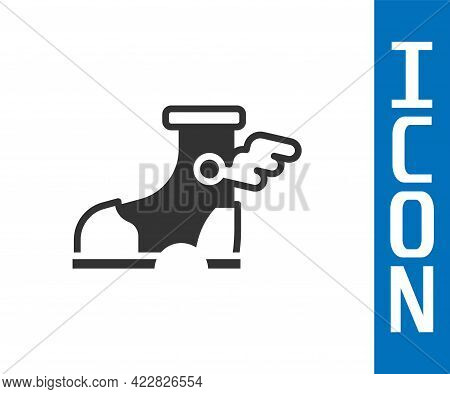 Grey Hermes Sandal Icon Isolated On White Background. Ancient Greek God Hermes. Running Shoe With Wi